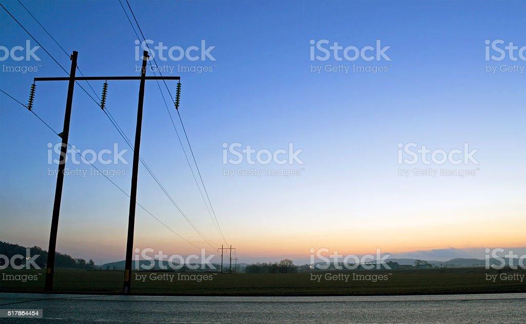 Powerlines Dawn stock photo
