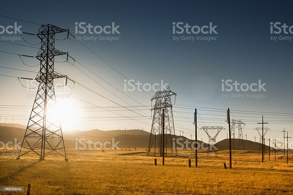 Powerlines in California USA stock photo