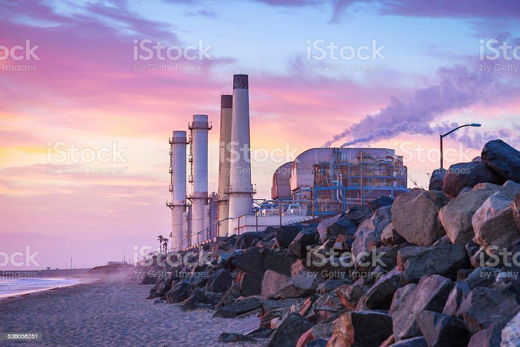 Powerplant at Sunset stock photo