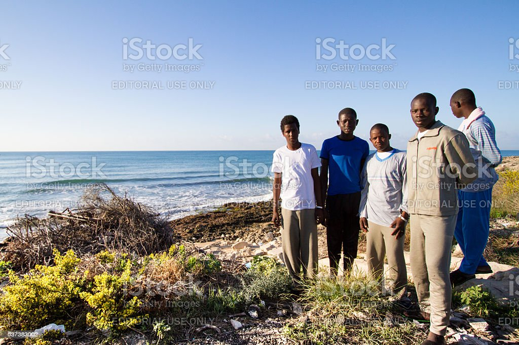 Pozzallo, Sicily: Just-Arrived African Migrants to Sicily's Shores stock photo