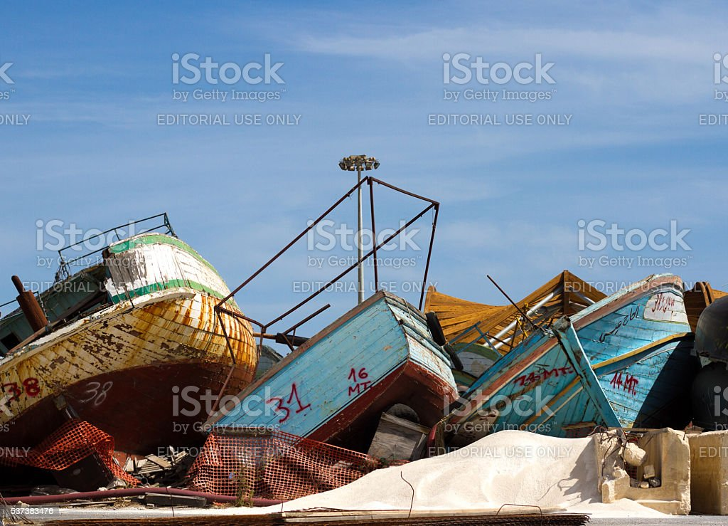 Pozzallo, Sicily: Migrant Ship Graveyard on Southern Coast stock photo