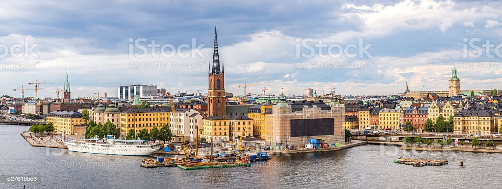 Ppanorama of the Old Town (Gamla Stan) in Stockholm, Sweden stock photo