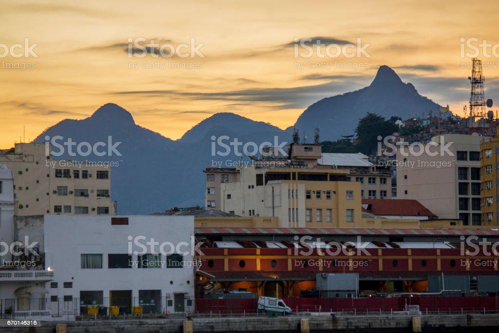 Pôr do sol na Praça Mauá stock photo