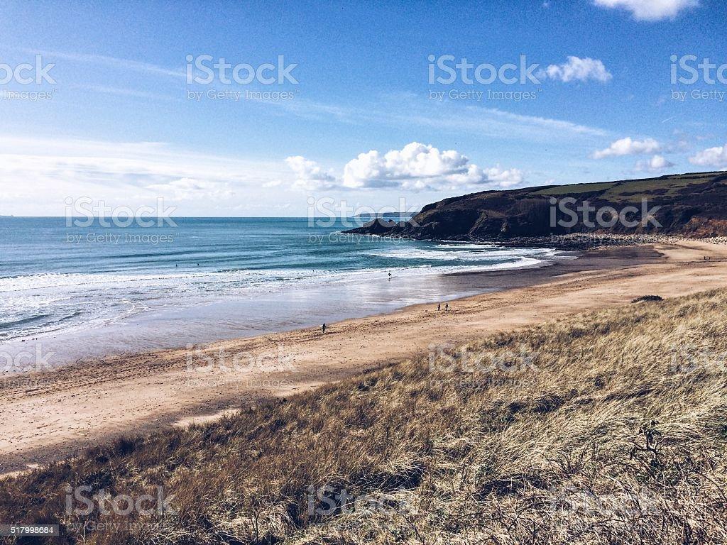 Praa Sands beach on the south coast of Cornwall. Mobilestock. stock photo