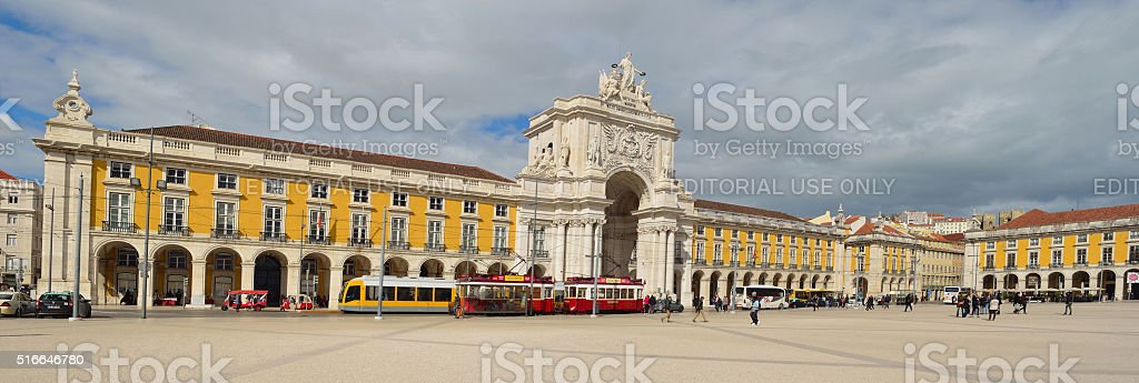 Praca do Comercio Lisbon Portugal with Trams and People stock photo