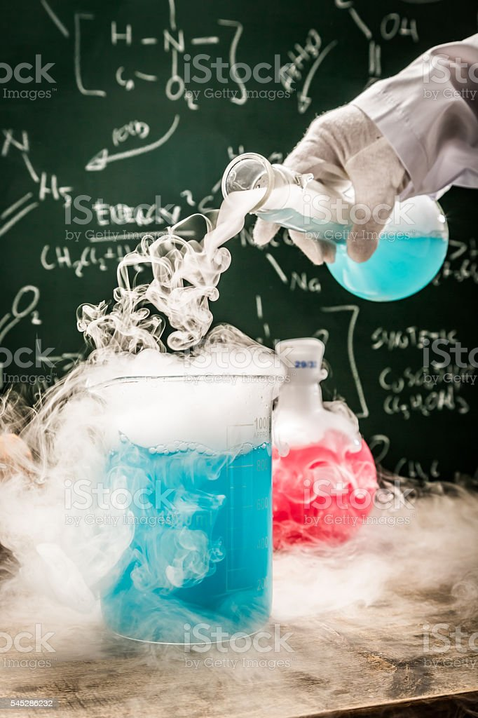 Practical chemical tests in academic laboratory stock photo