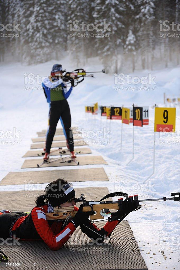 Practice at shooting range stock photo