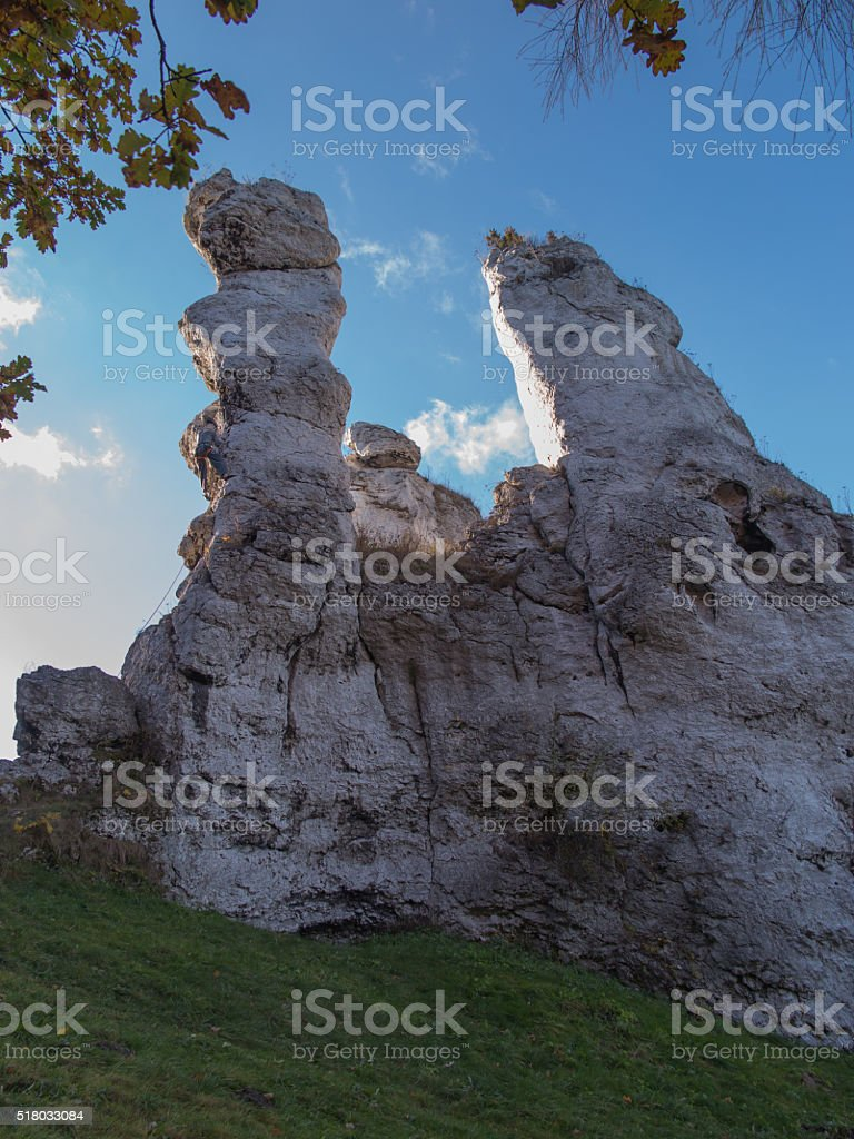 practice climbing on the rocks of the Jura in Ogrodzieniec stock photo