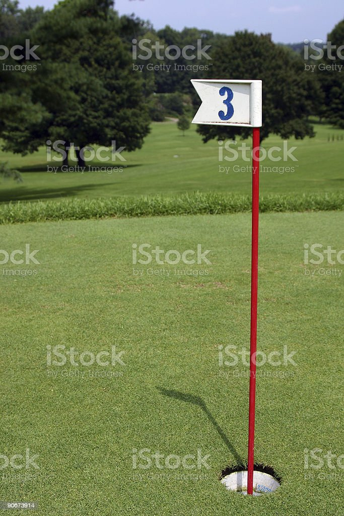 Practice Golf Putting Hole backed up to Golf course royalty-free stock photo