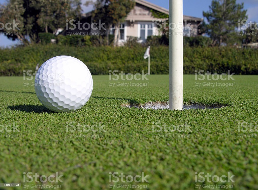Practice Green - Ball near cup royalty-free stock photo