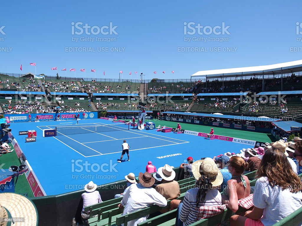 Practice match at the center court at Kooyong Tennis Club stock photo