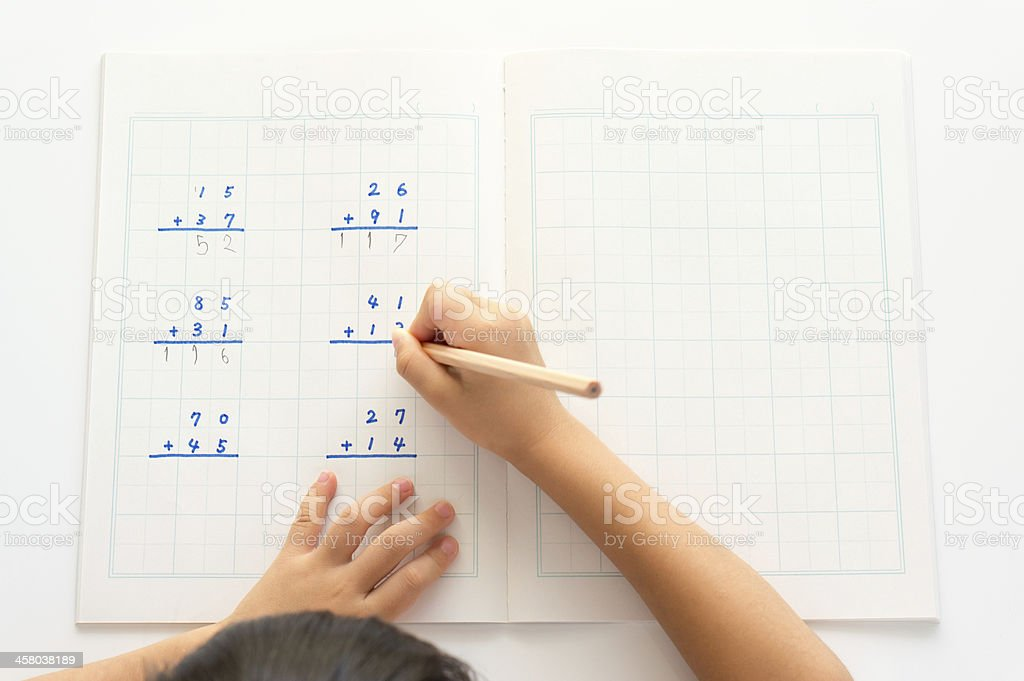 Practice of the addition stock photo