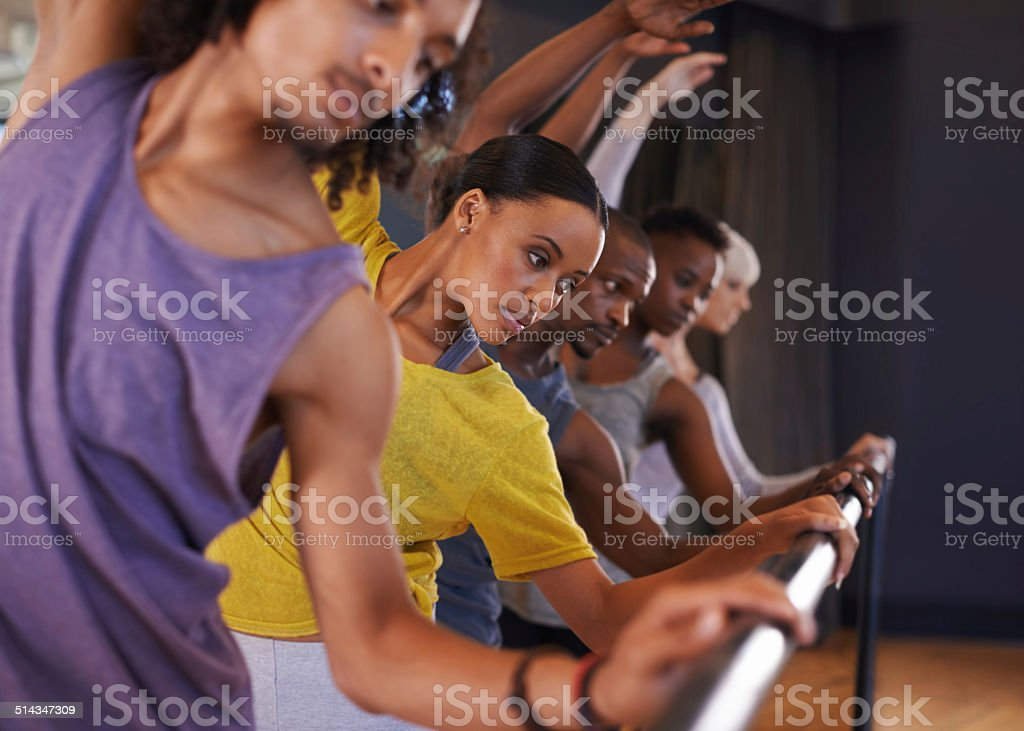 Practice on the bar before choosing a partner stock photo