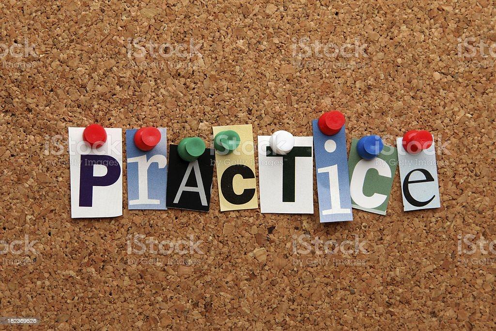 Practice pinned on noticeboard stock photo