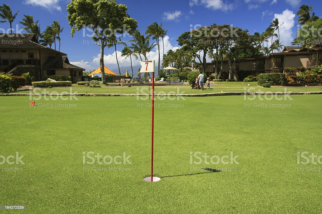 Practice putting golf green in Maui Hawaii resort hotel royalty-free stock photo