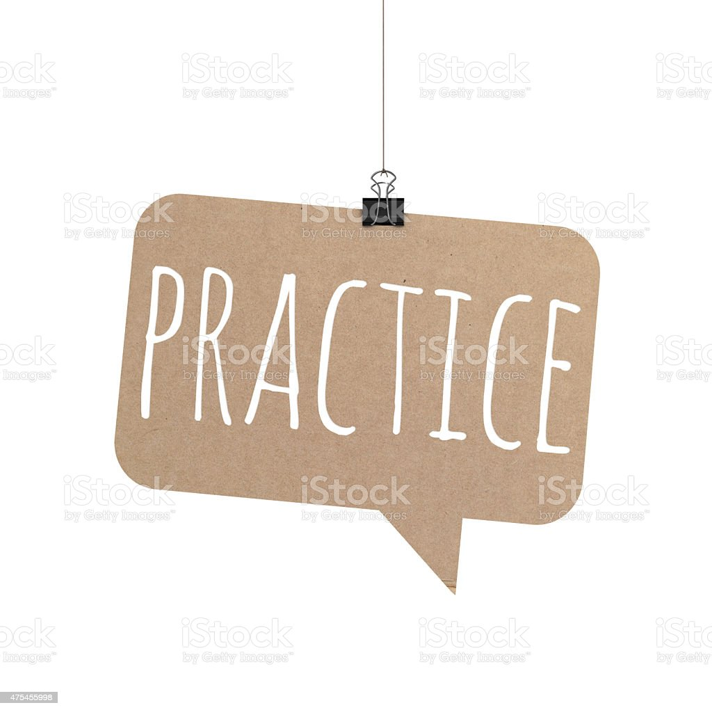 Practice speech bubble hanging on a string stock photo
