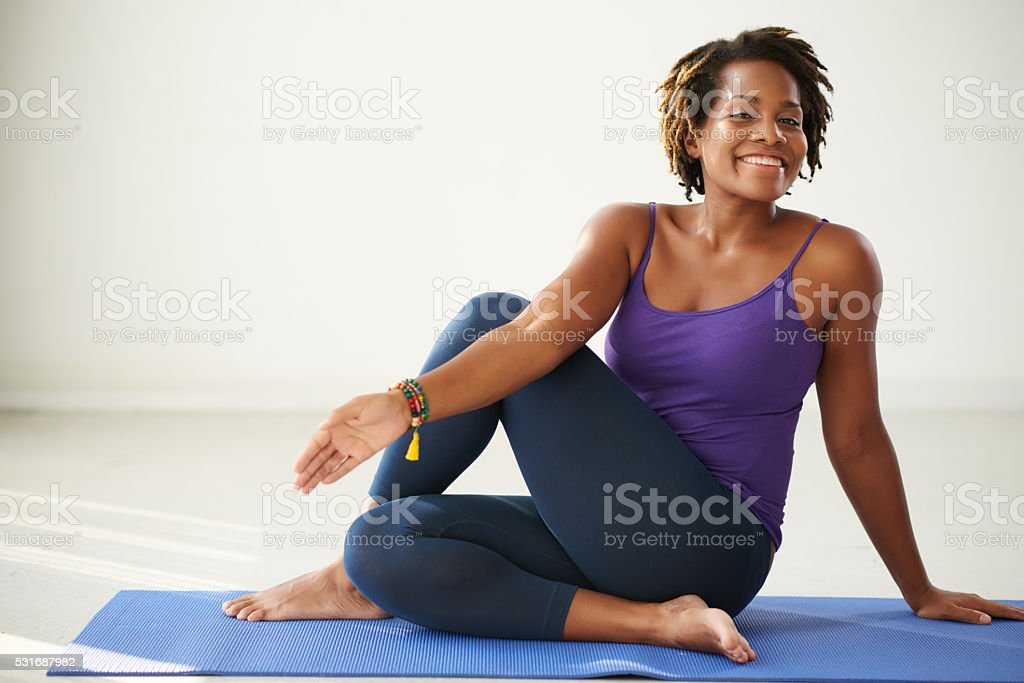 Practicing asana stock photo