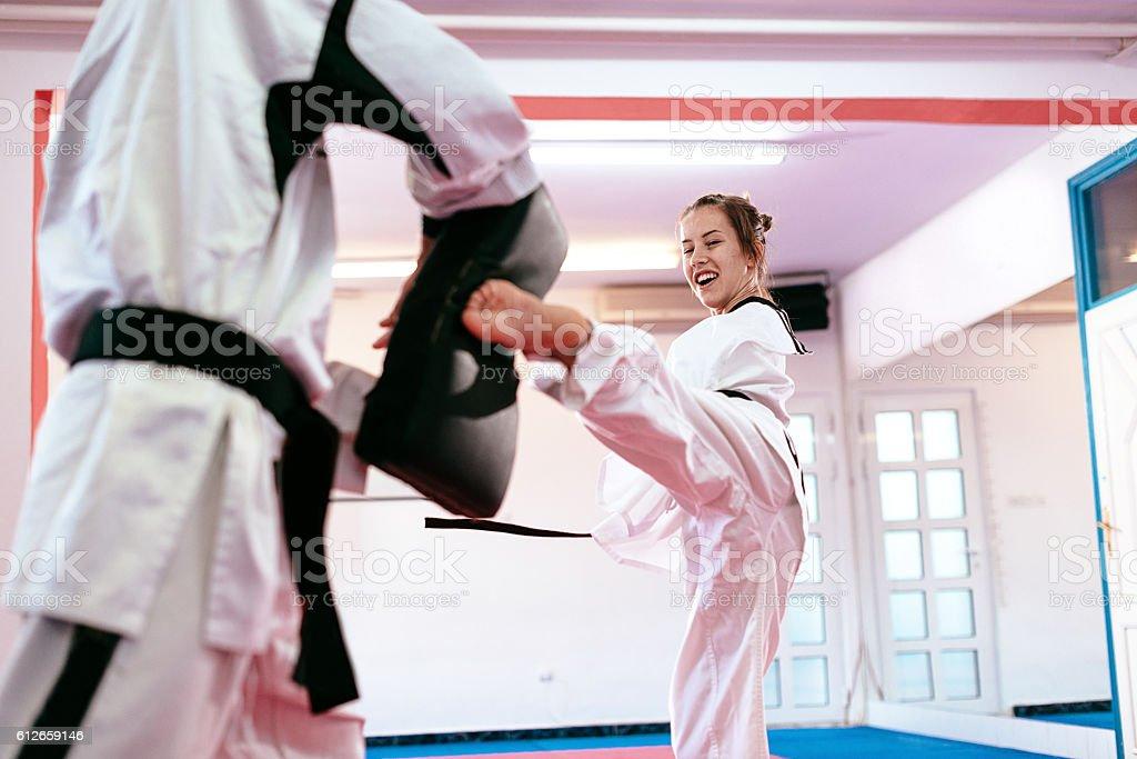 Practicing for next world championships in Taekwondo stock photo