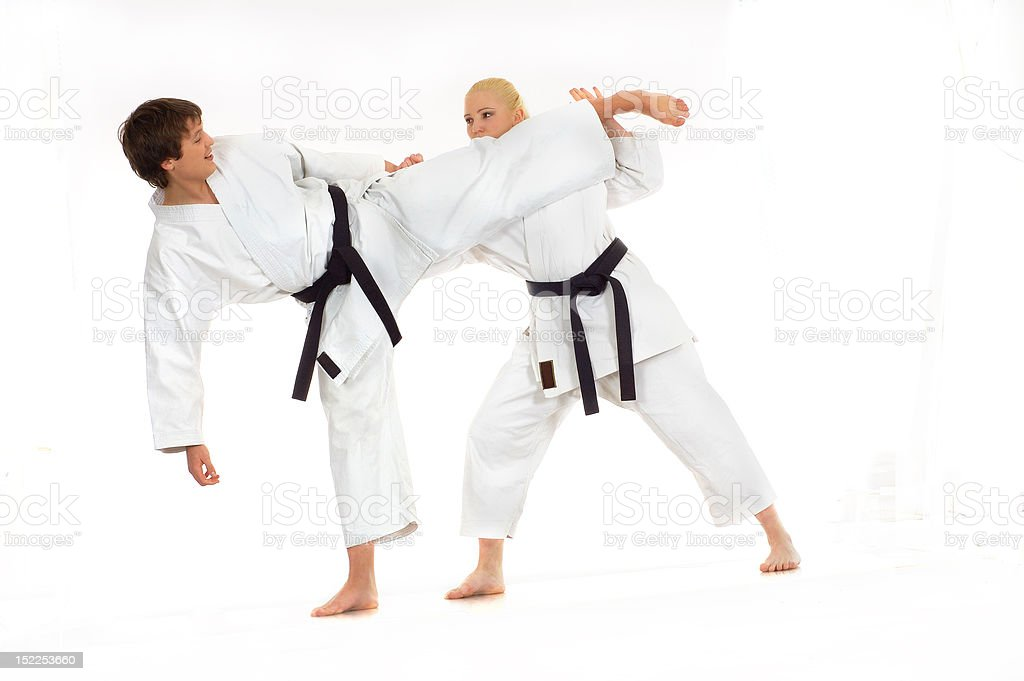 practicing Karate royalty-free stock photo