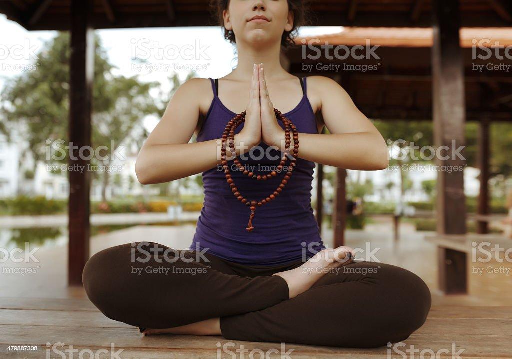 Practicing meditation stock photo