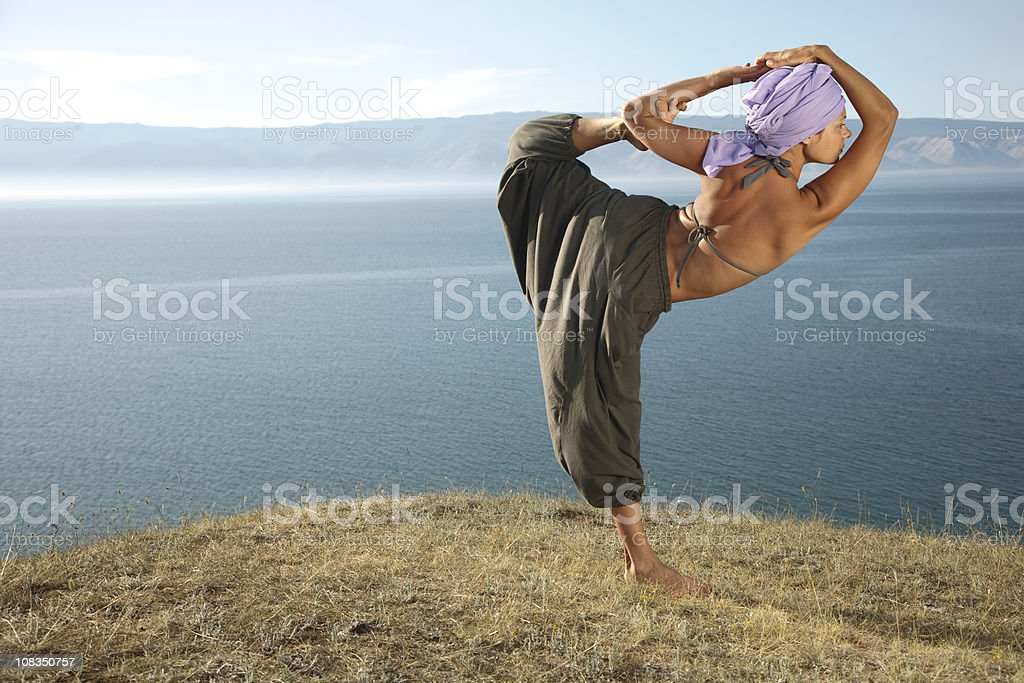 Practicing near the lake royalty-free stock photo