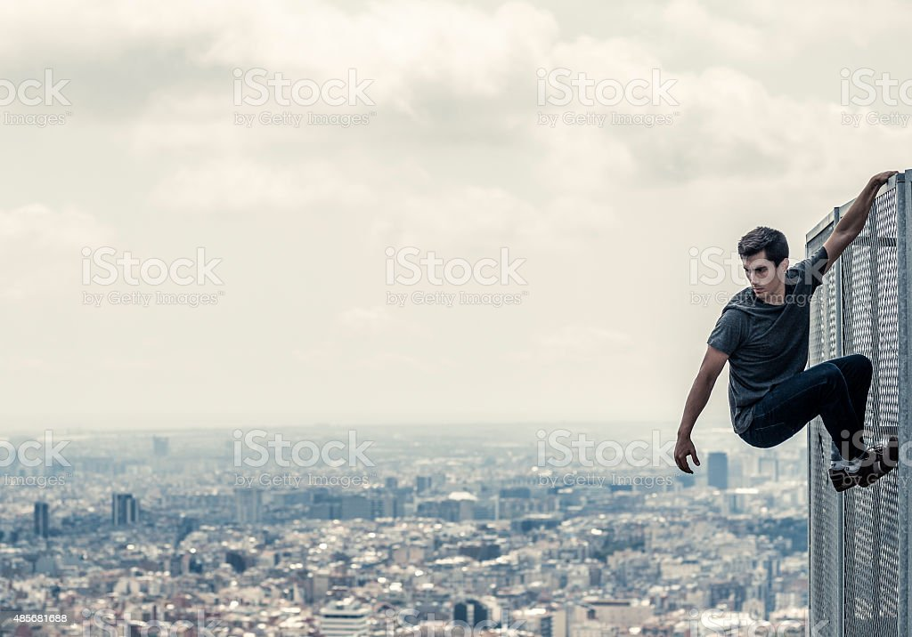 Practicing parkour in the city stock photo