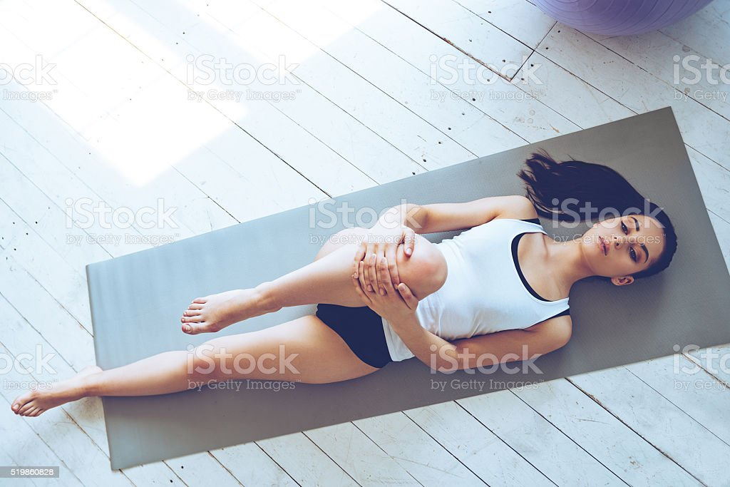 Practicing Pilates. stock photo