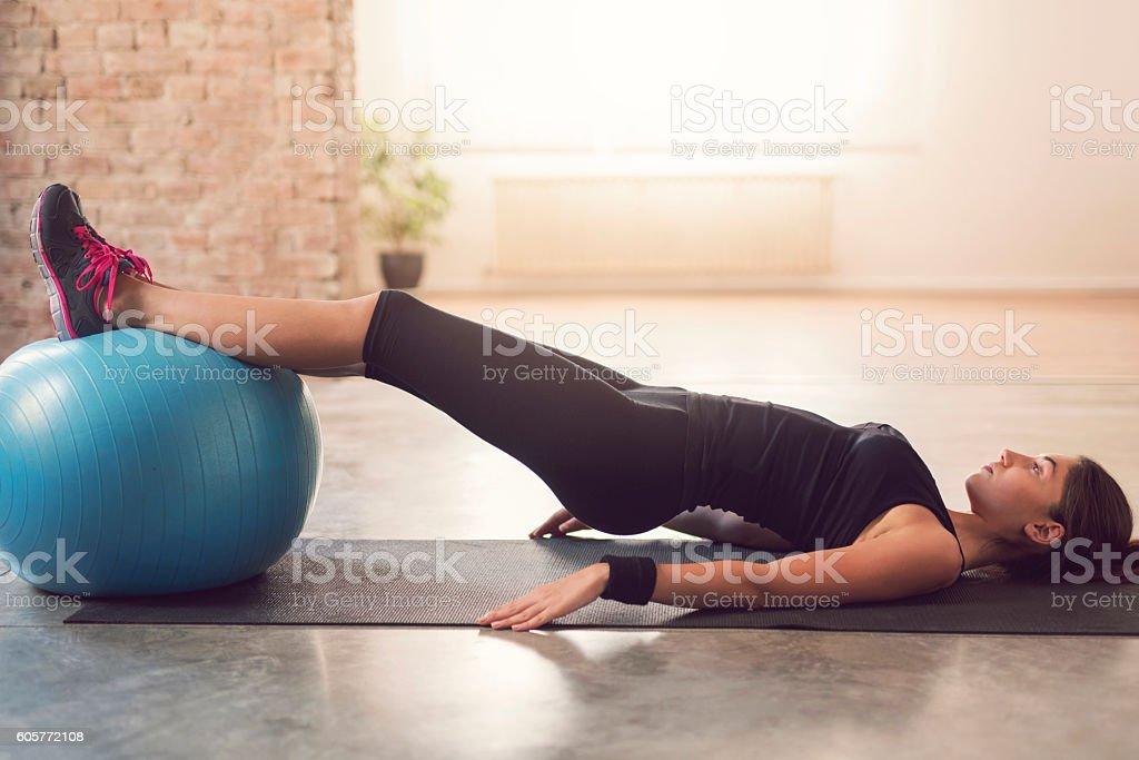 Practicing Pilates stock photo
