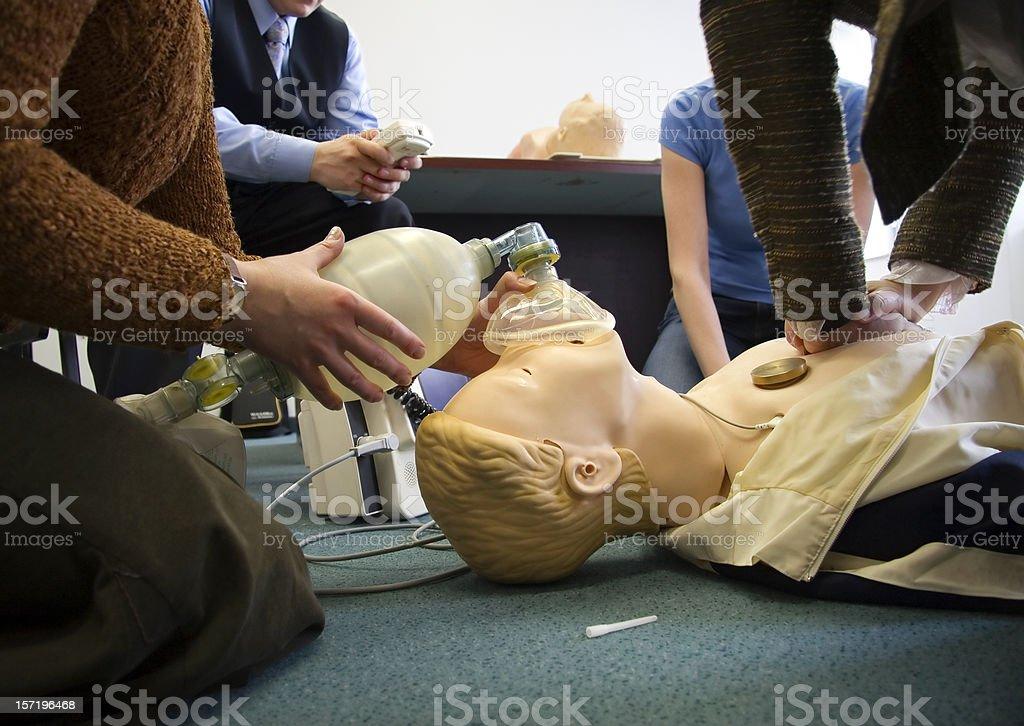 Practicing resuscitation 2 royalty-free stock photo