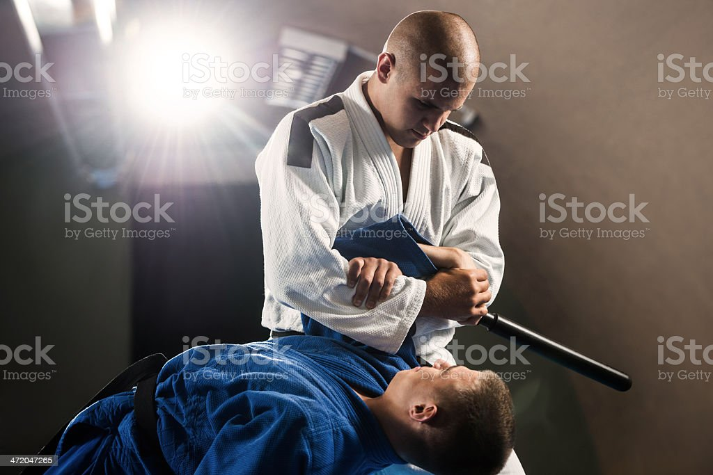 Practicing self-defense. royalty-free stock photo