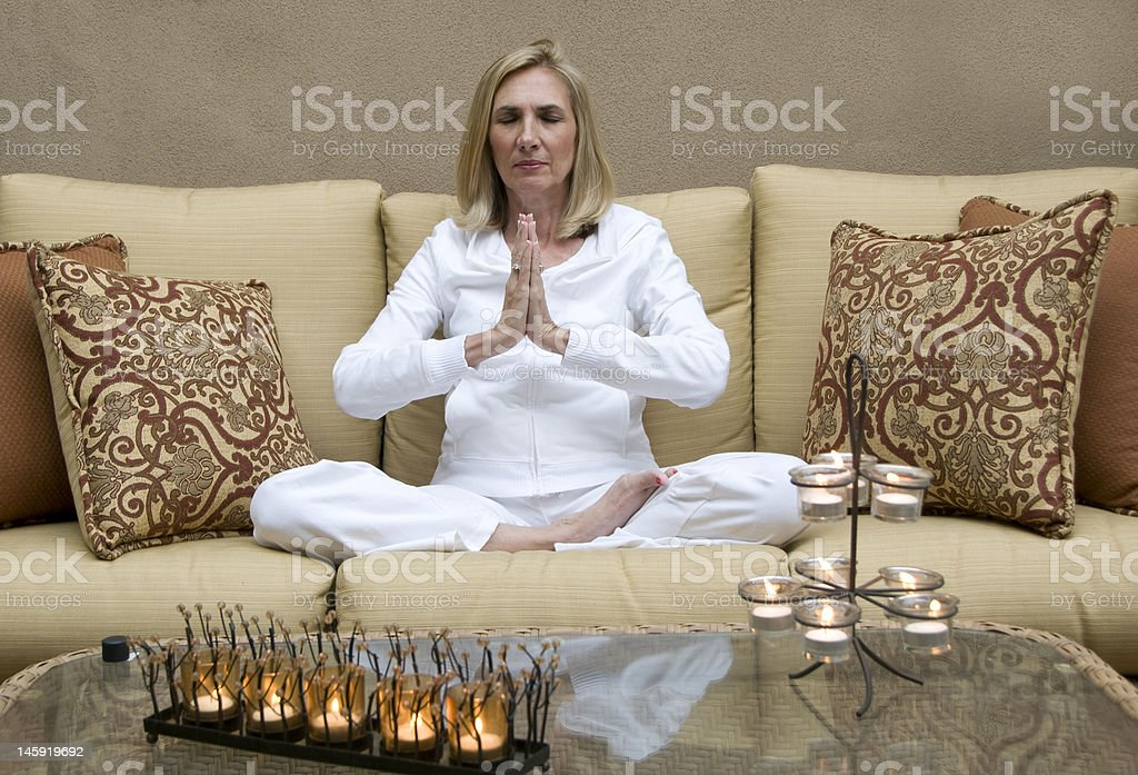 Practicing Yoga royalty-free stock photo