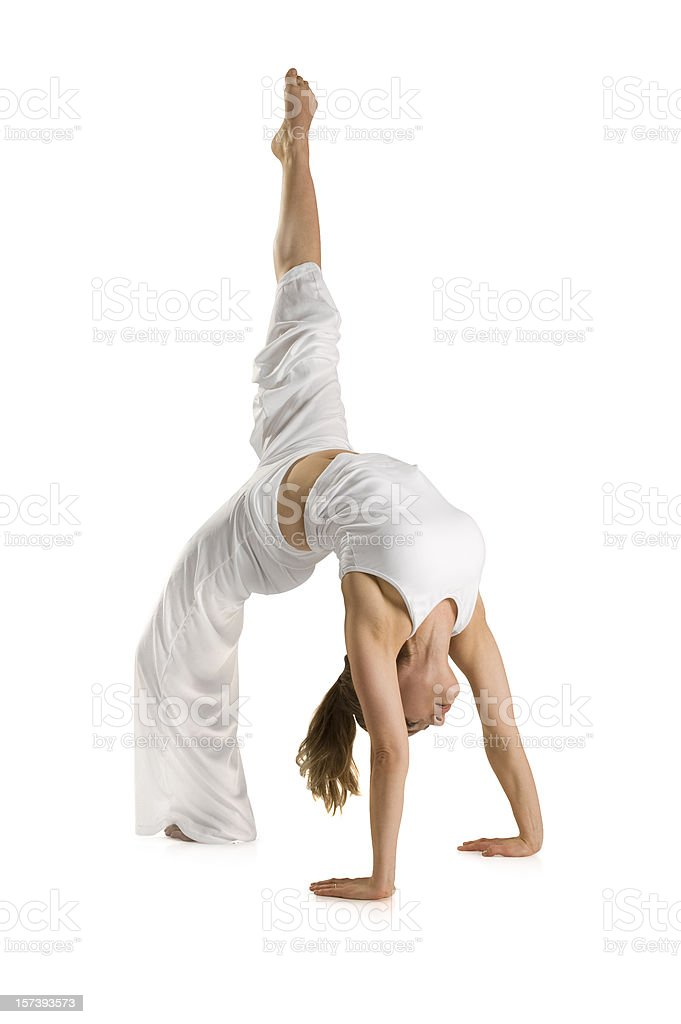 Practicing Yoga w/Clipping Path royalty-free stock photo