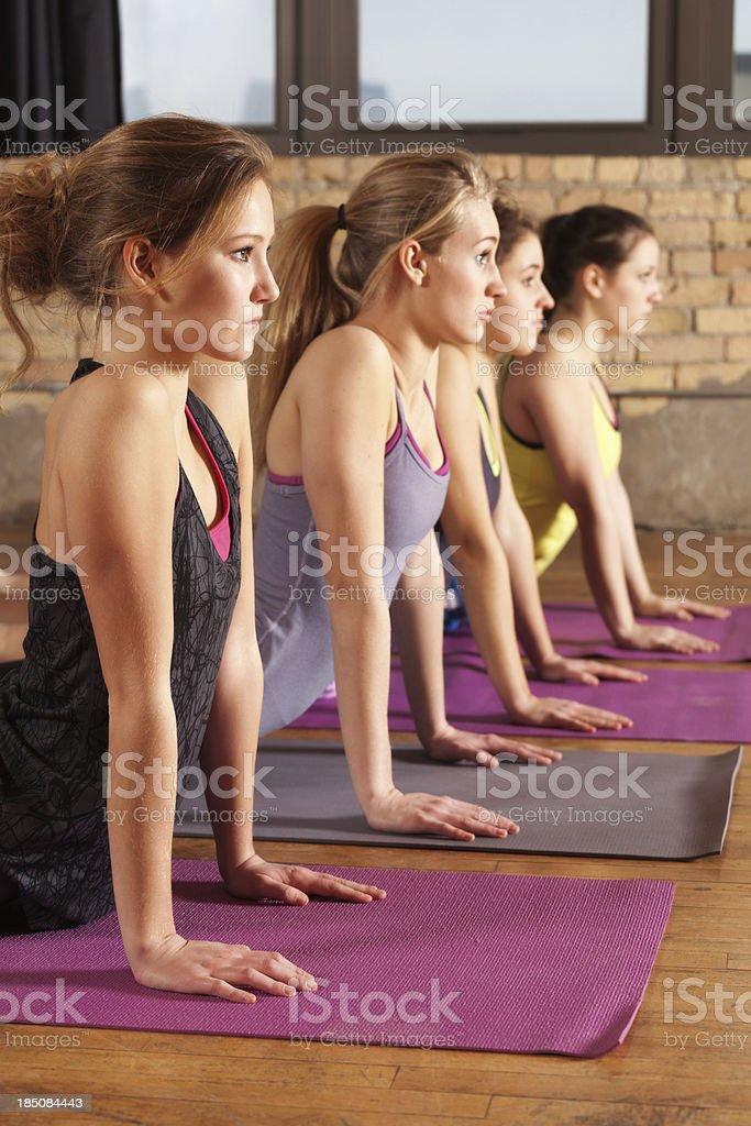 Practing Yoga Cobra Pose in Health Club Training Vt royalty-free stock photo