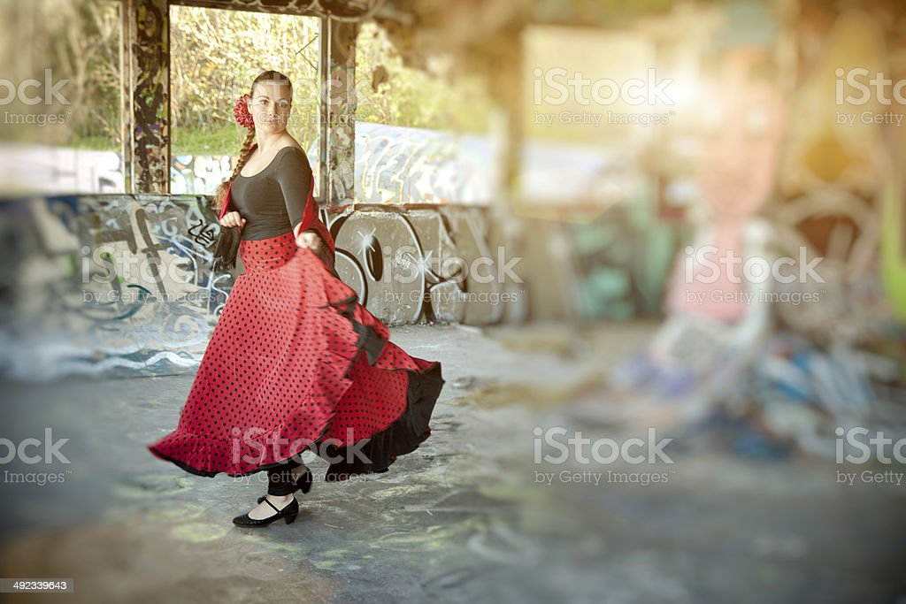 Practising Flamenco.. stock photo