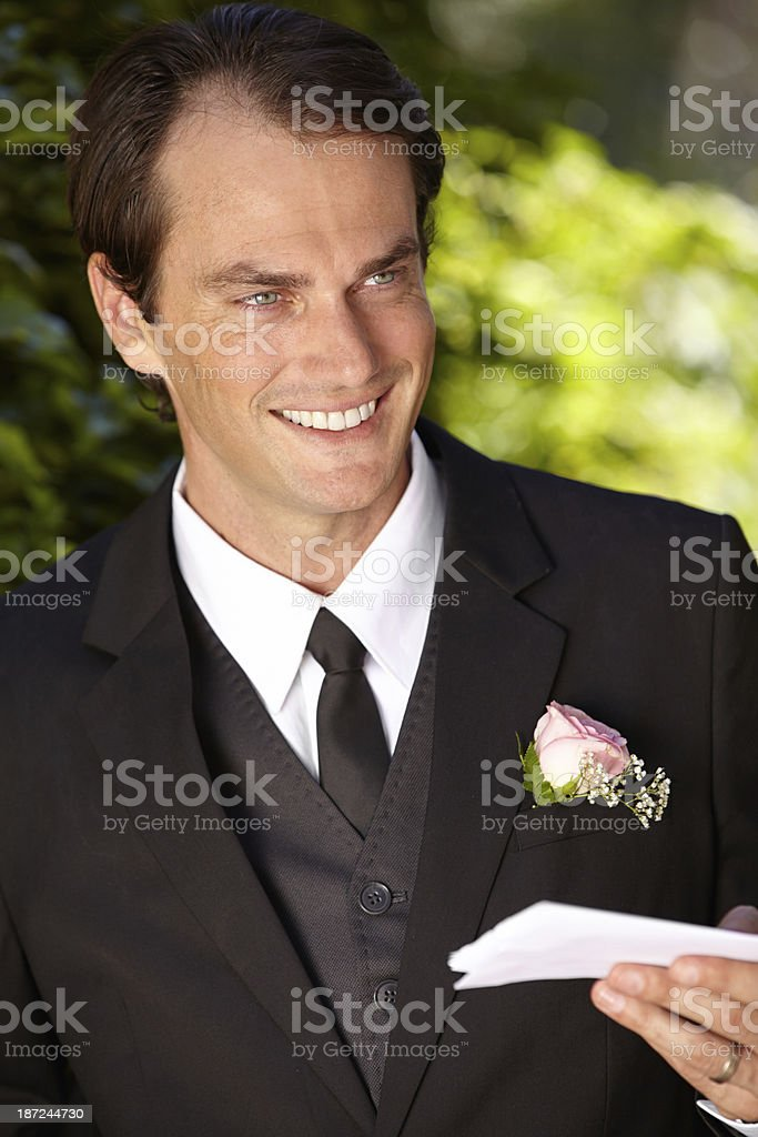 Practising his vows one last time... royalty-free stock photo