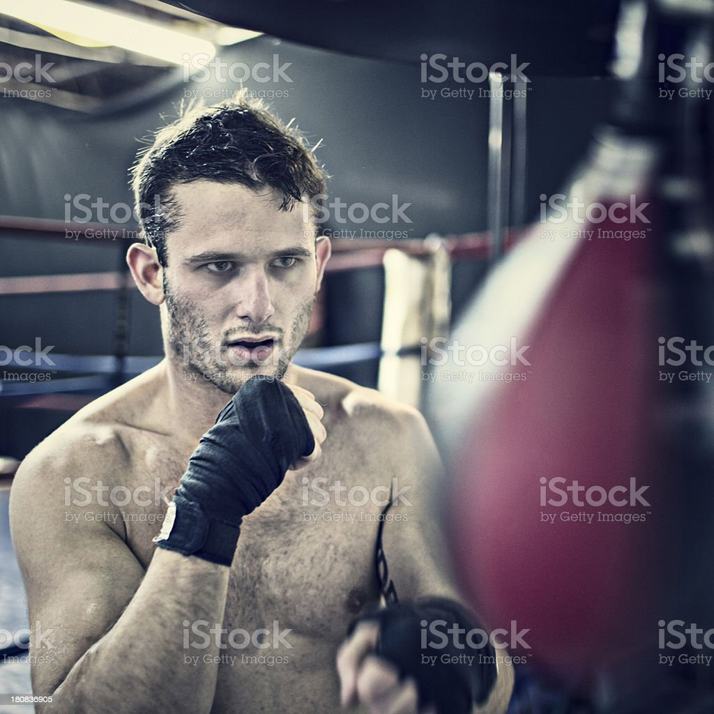 Practising with the speed bag stock photo