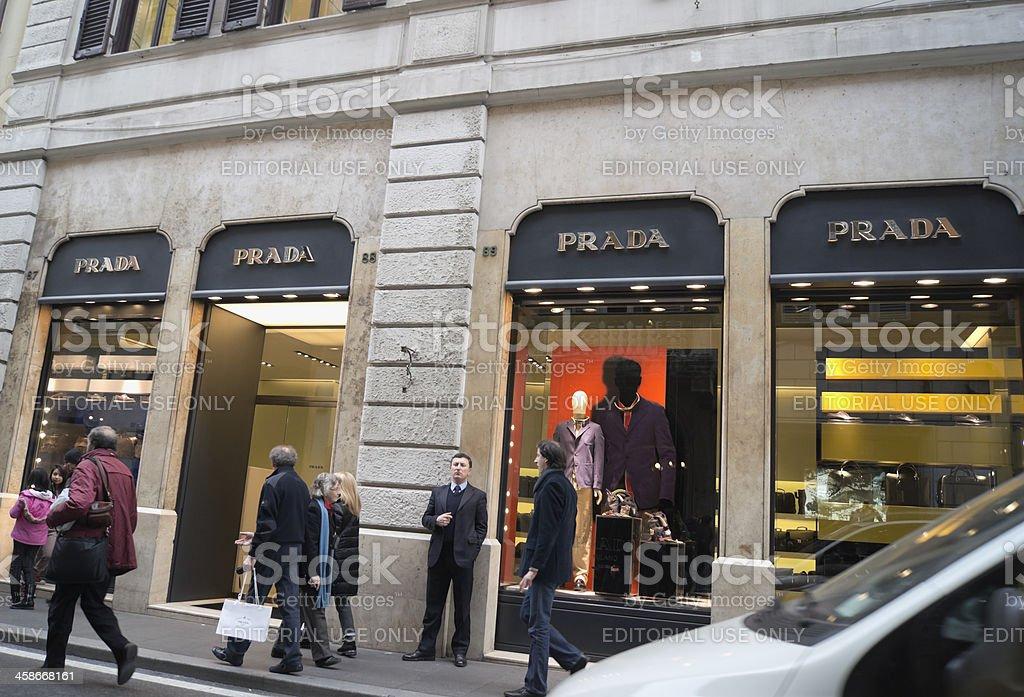 Prada store in Via dei Condotti, Rome royalty-free stock photo