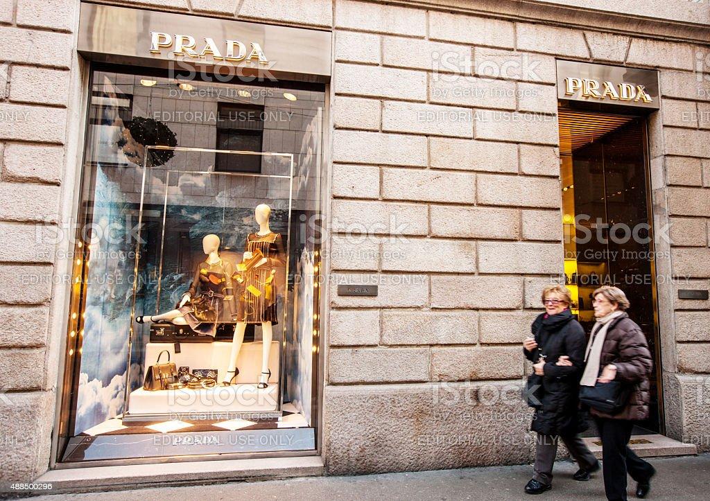 Prada Store on Via Monte Napoleon, Milan stock photo