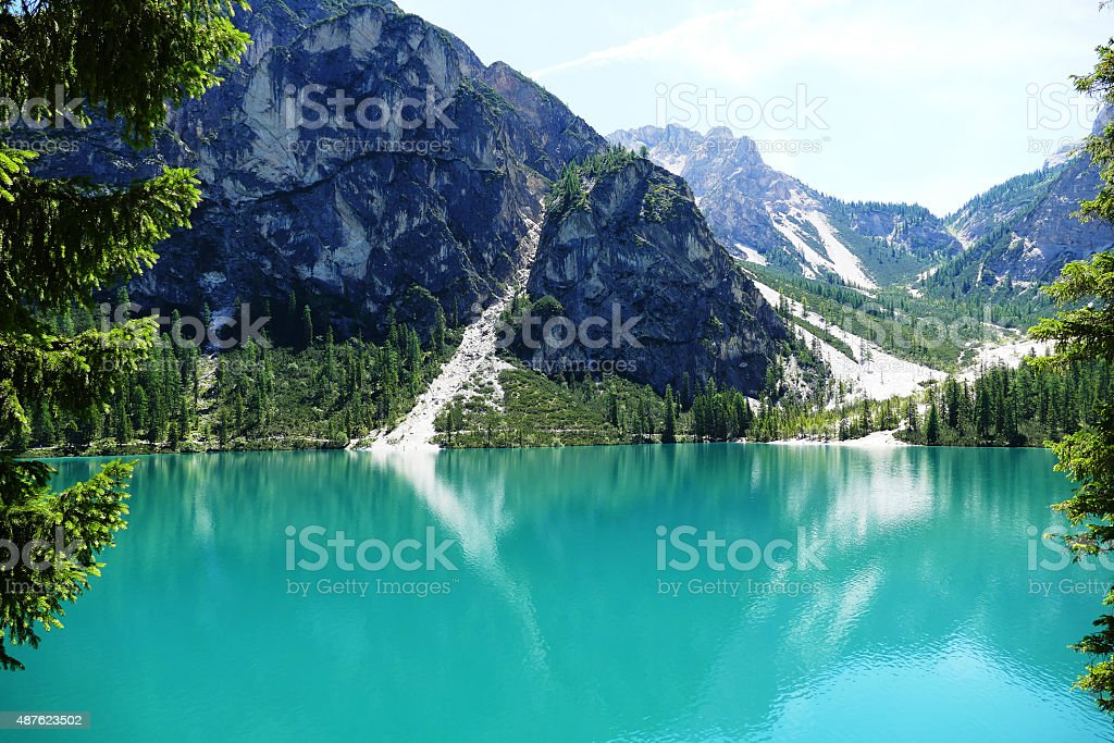 Pragser Wildsee in the Dolomites Italy stock photo