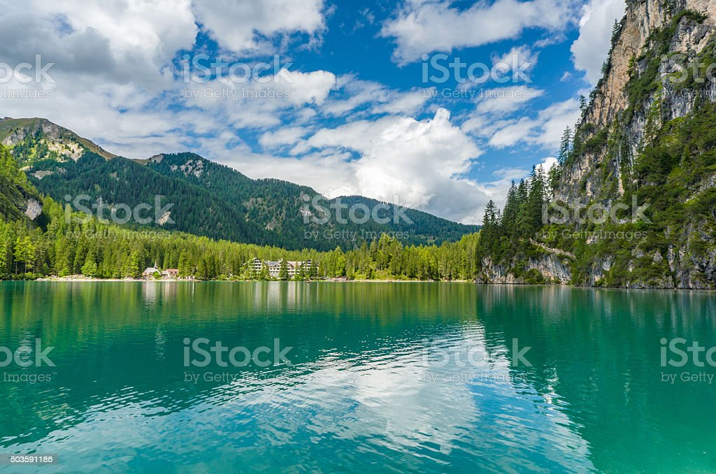 Pragser Wildsee (Lago di Braies), Italy stock photo