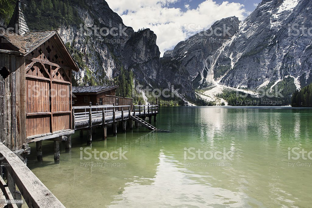Pragser Wildsee, Lake Braies stock photo