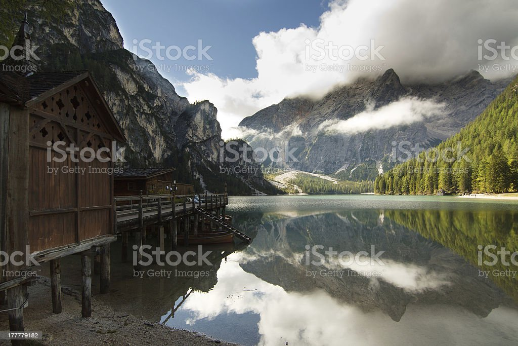 Pragser Wildsee (Lago di Braies) stock photo