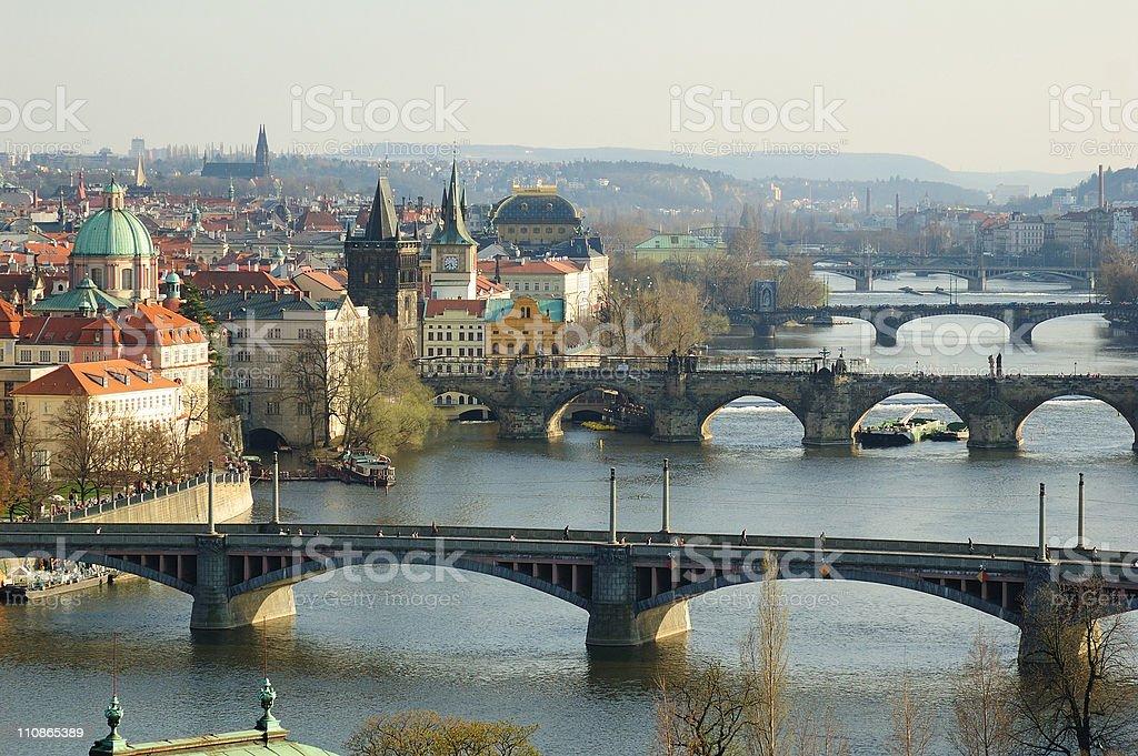 Prague and bridges over Vltava River stock photo