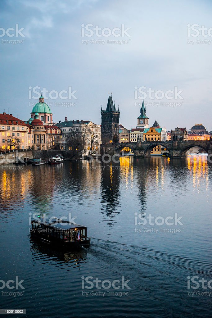 Prague and its reflection stock photo