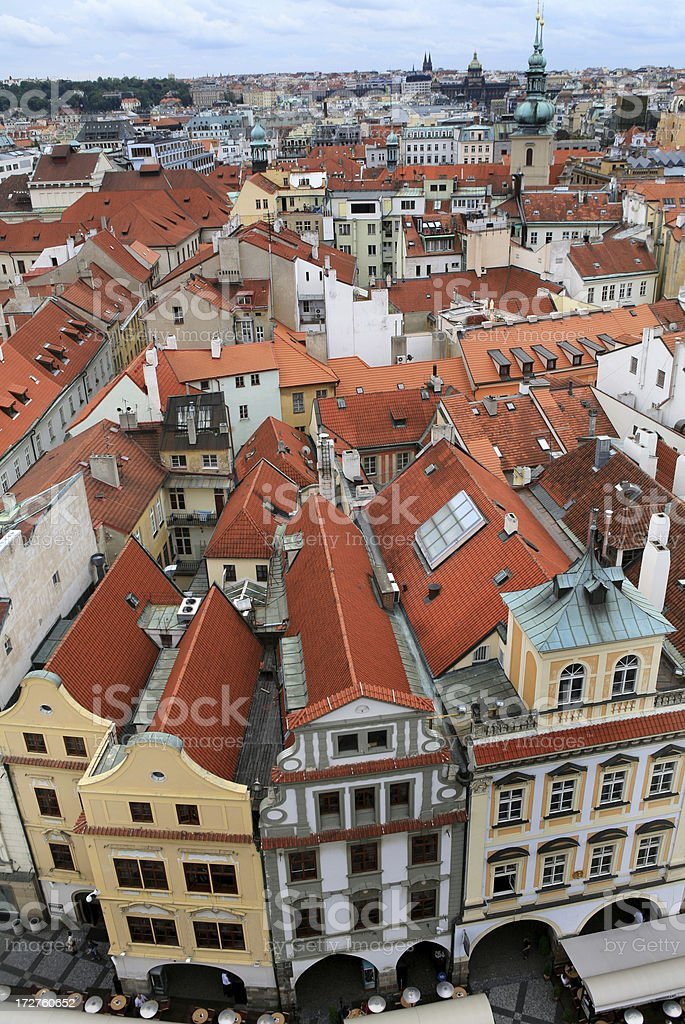 Prague Architecture Cityscape Tile Rooftops royalty-free stock photo