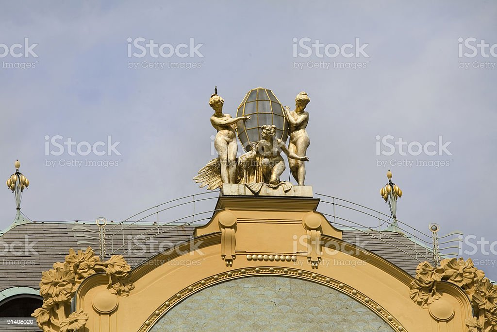 Prague Architecture, Rooftop Detail, Czech Republic royalty-free stock photo