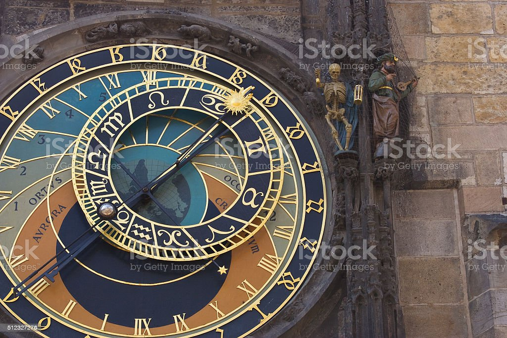 Prague astronomical clock detail of hands and astronomical dial stock photo