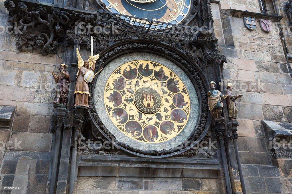 Prague Astronomical Clock (Orloj) in the Old Town of Prague stock photo