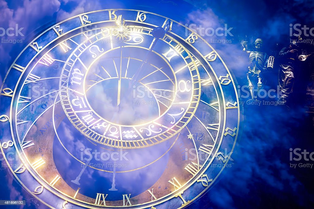 Prague astronomical Clock on  the Old Town Hall stock photo