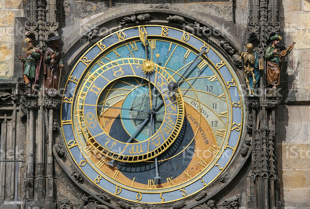 Prague astronomical clock or orloj stock photo